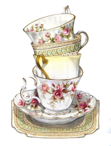 vintage teacup and saucers stacked
